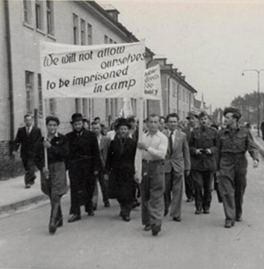 A protest in the Bergen-Belsen DP camp, Germany, c.1947